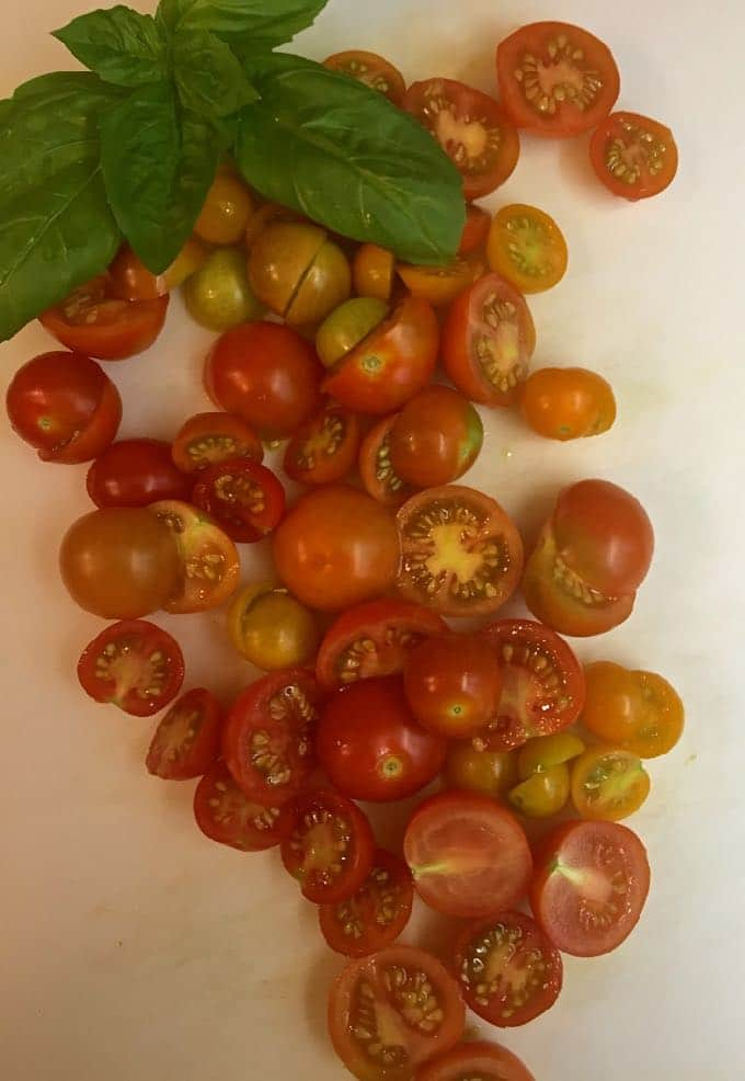 Rustic Roasted Cherry Tomato Pizza with fresh cherry tomatoes straight from the vine