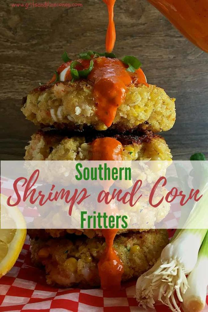 Combine fresh shrimp and corn with panko for delicious Southern Shrimp and Corn Fritters. Want to make it even more flavorful? Add my easy Roasted Red Pepper Sauce which is made in a blende for an easy dinner recipe! #dinner, #dinnerrecipe, #easyrecipe, #sundaysupper, #seafood, #comfortfood