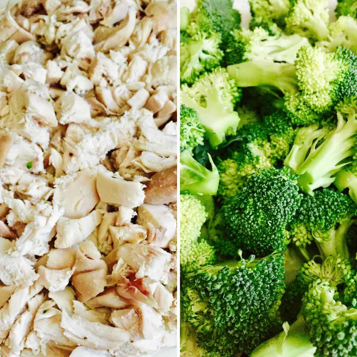 Chopped chicken and broccoli.