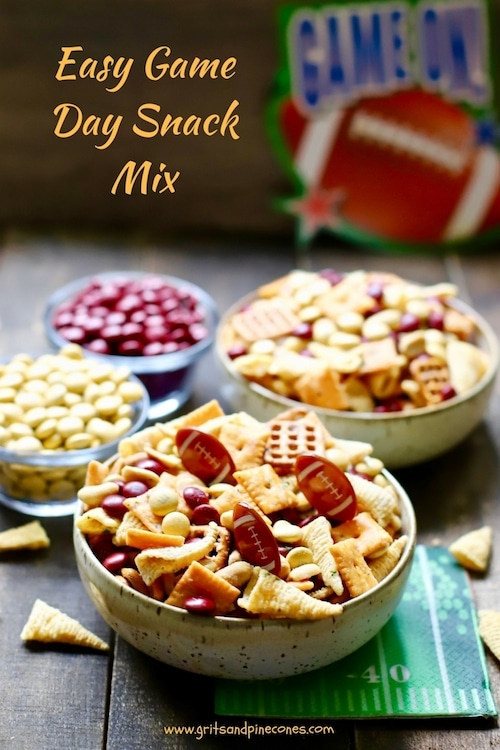 Easy Game Day Snack Mix is simple and fun to make, a perfect game day or tailgating snack and full of delicious sweet and savory treats with your team's colors.