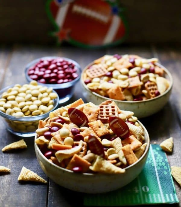 Easy Game Day Snack Mix with Seminole Colors