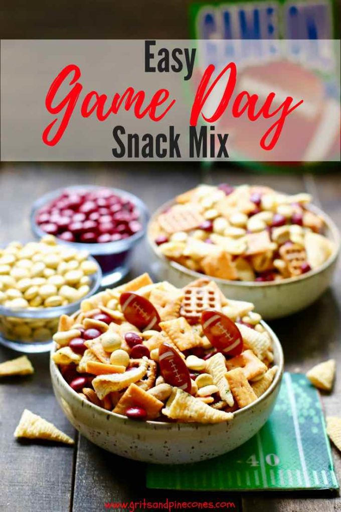 Easy Game Day Snack Mix is simple and fun to make, a perfect game day or tailgating snack and full of delicious sweet and savory treats with your team's colors. #gameday, #tailgating, #snack, #appetizers, #easyrecipes, #backtoschool, #football, #party