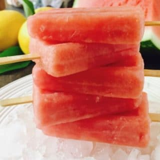 Easy Watermelon Lemonade Ice Pops stacked and ready to enjoy