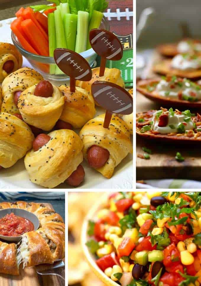 A college with four pictures of game day snacks like pigs in a blanket, potato skins and caviar dip.