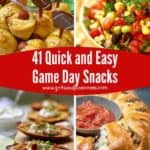 Pinterest pin collage of four game day snacks.