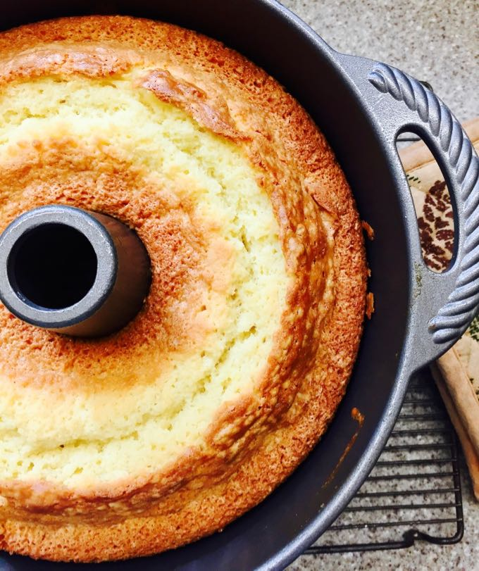 Minnie Lee Croley's Sour Cream Pound Cake right out of the oven and cooling in the pan