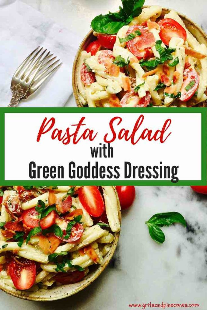 Cold, creamy Pasta Salad with Green Goddess Dressing is a simple, healthy and light summer entree. This kid-friendly easy pasta recipe can be doubled for a crowd and would also be great for either lunch or dinner! Check out the recipe and make it today! #pastasalad, #pastasaladrecipes, #coldpastasalad, #healthypastasalad