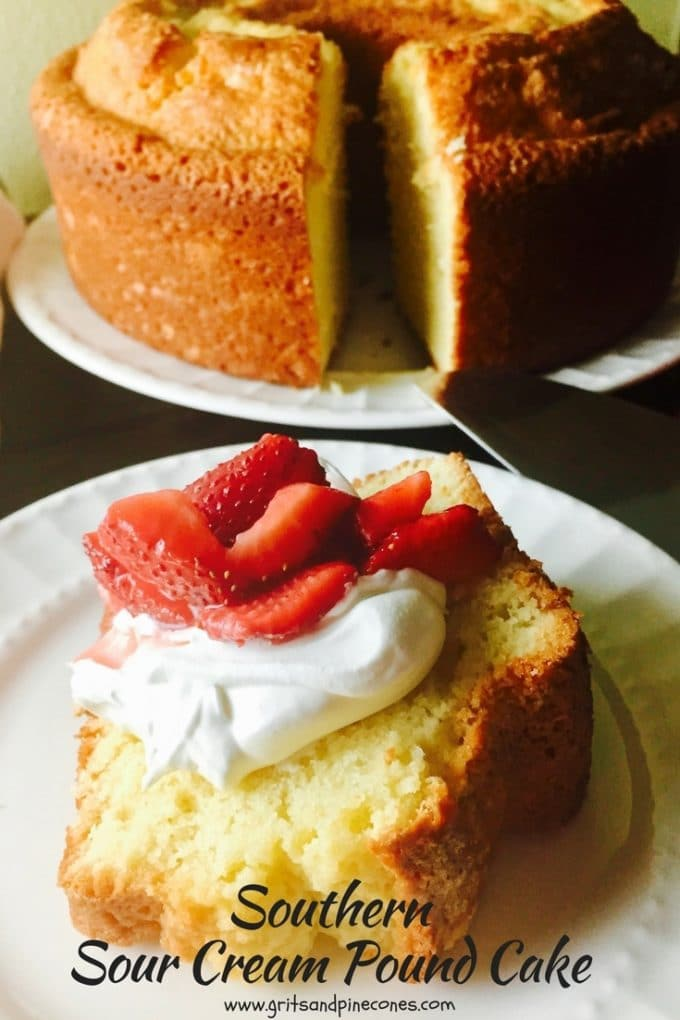 Minnie Lee Croley's Southern Sour Cream Pound Cake is an easy to make from scratch, delicious,  old-fashioned moist pound cake with a thick, crunchy crust.