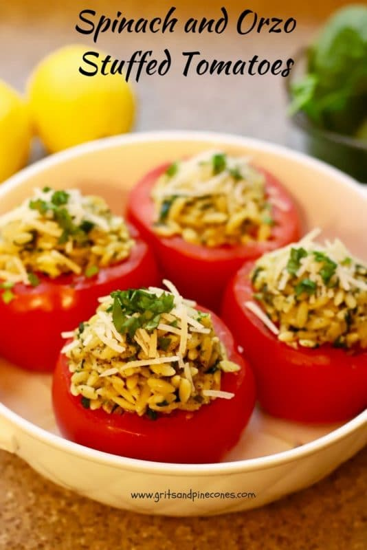 Spinach and Orzo Stuffed Tomatoes