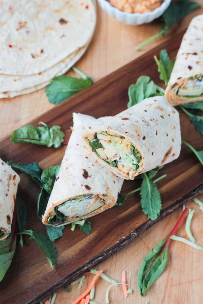 Veggie Wrap with Apples and Hummus