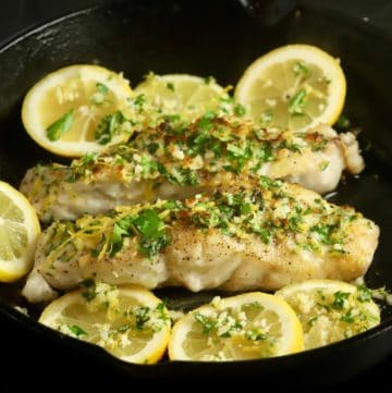 Pan-seared grouper topped with parsley, lemon zest and garlic.