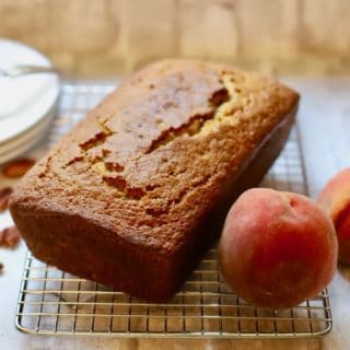 Easy Southern Peach Bread ready to slice