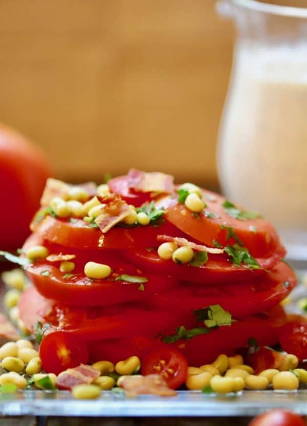 Fresh Tomato Salad with White Acre Peas