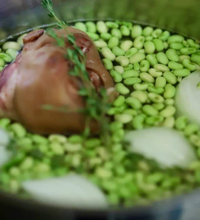 Cooking the peas for Tomato Salad with White Acre Peas