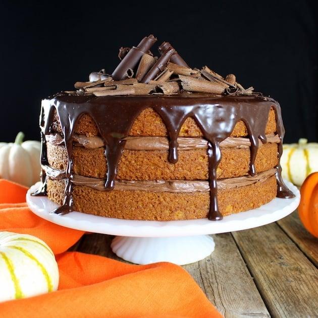 Pumpkin Chocolate Ganache Cake