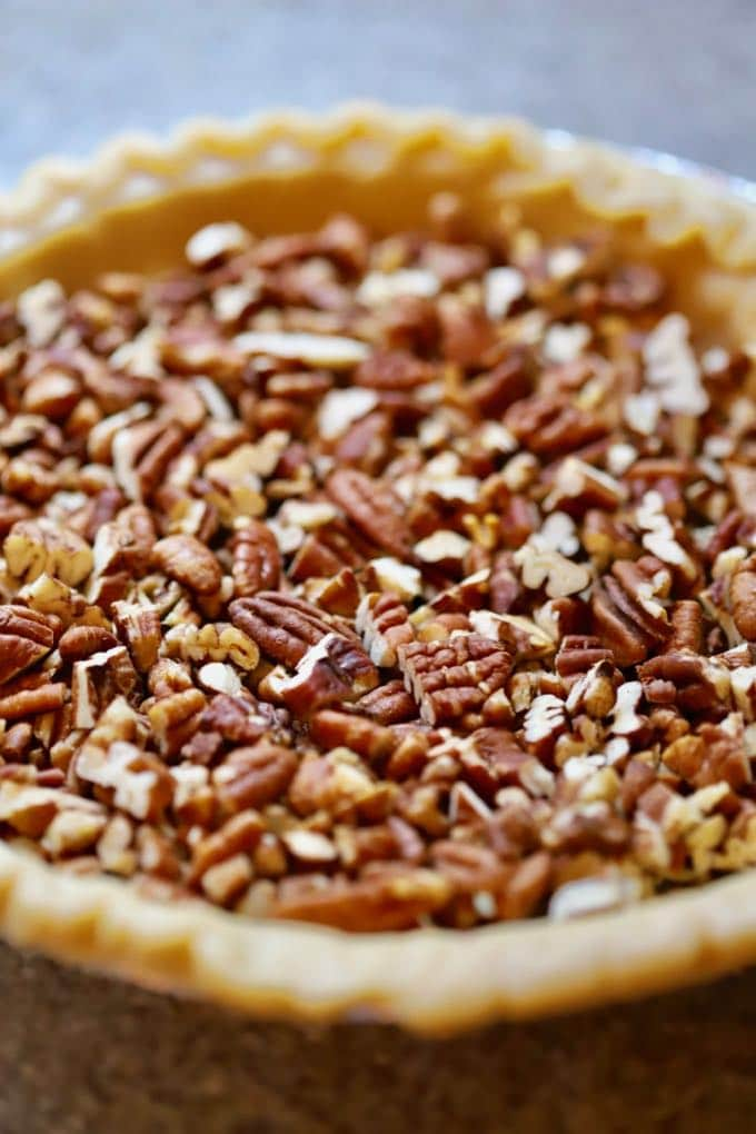 Adding the pecans to Dot's Ultimate Southern Pecan Pie