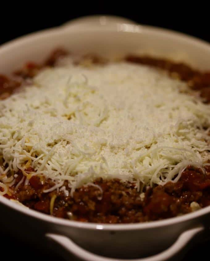 Easy Cheesy Ground Beef Casserole ready to bake