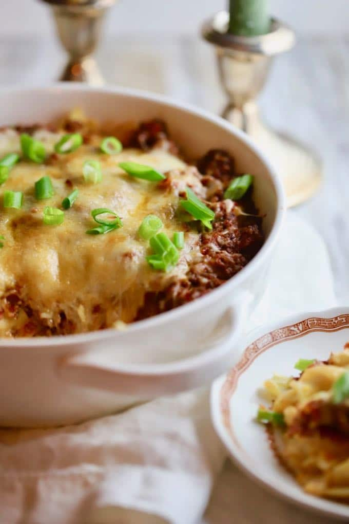 Easy Cheesy Ground Beef Casserole ready for dinner