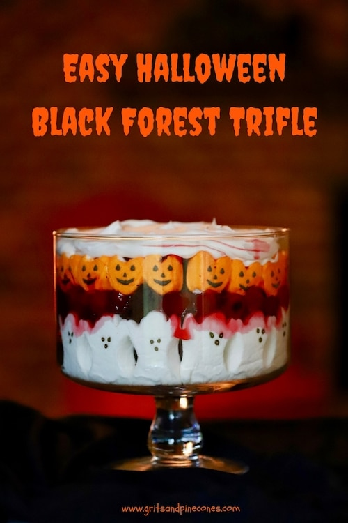 Easy Halloween Black Forest Trifle takes minutes to assemble and is a spooktacularly delicious Halloween recipe full of the most adorable ghosts and goblins! #halloweenrecipes, #halloweenappetizers, #halloweenpartyfood, #halloweenpartyfoodideas, #halloweentreats, #halloweenfood, #easyhalloweentreats, #easyhalloweenfoodideas, #easyhalloweenrecipes, #halloweendessert