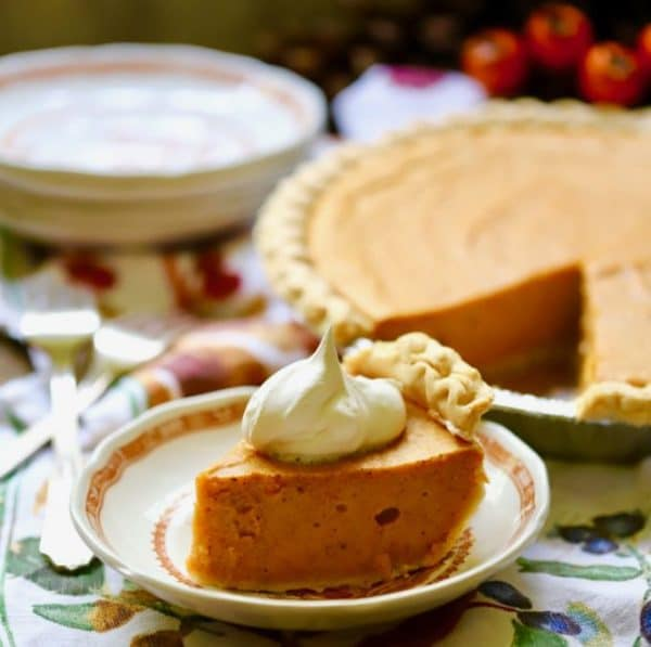 A big slice of Easy Southern Sweet Potato Pie
