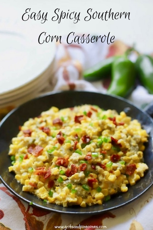 Easy Spicy Southern Corn Casserole is a perfect make-ahead side dish and a fiesta for the senses with luscious corn, chilies, jalapenos, and a decadent cream cheese filling. #thanksgivingrecipe, #easysidedish, #thanksgivingrecipessouthern, #thanksgivingsidedishes, #thanksgivingmakeaheadrecipes