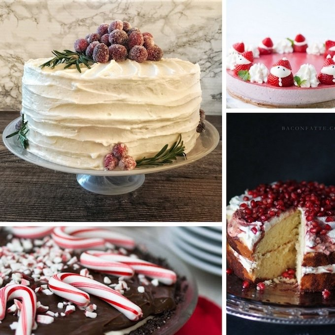 Picture of four different Christmas desserts.