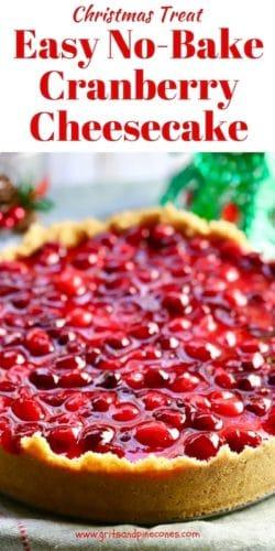Easy No Bake Cranberry Cheesecake