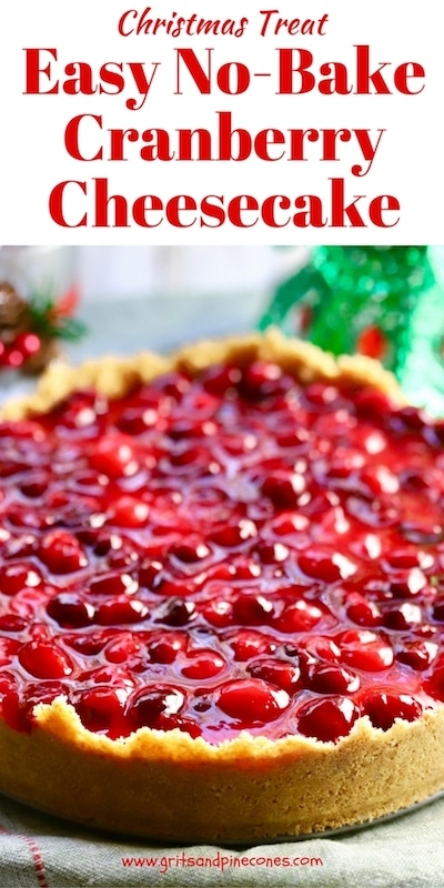Easy No-Bake Cranberry Cheesecake is delicious and loaded with fresh cranberries and luscious cream cheese. It's a perfect make-ahead Thanksgiving or Christmas dessert! #thanksgivingrecipes, #christmasrecipes, #thanksgivingdesserts, #christmasdesserts, #christmastreats, #cranberrydessertrecipes, #cranberryrecipes, #cranberrydesserts