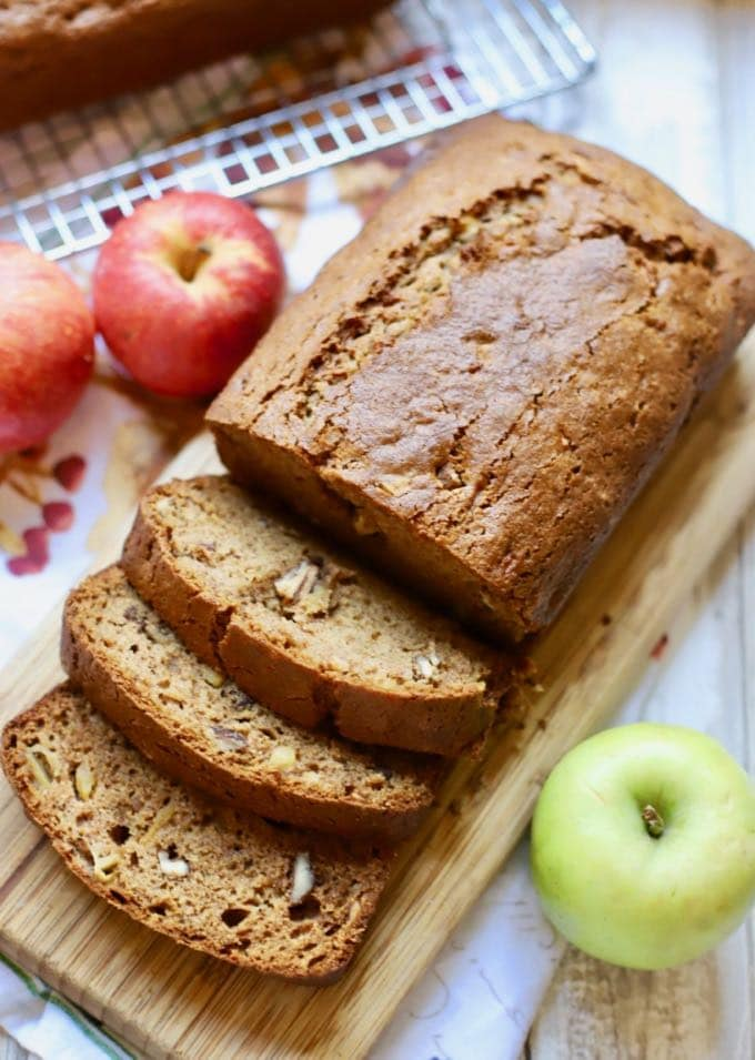 Easy Southern Style Apple Bread Recipe sliced and ready for breakfast.