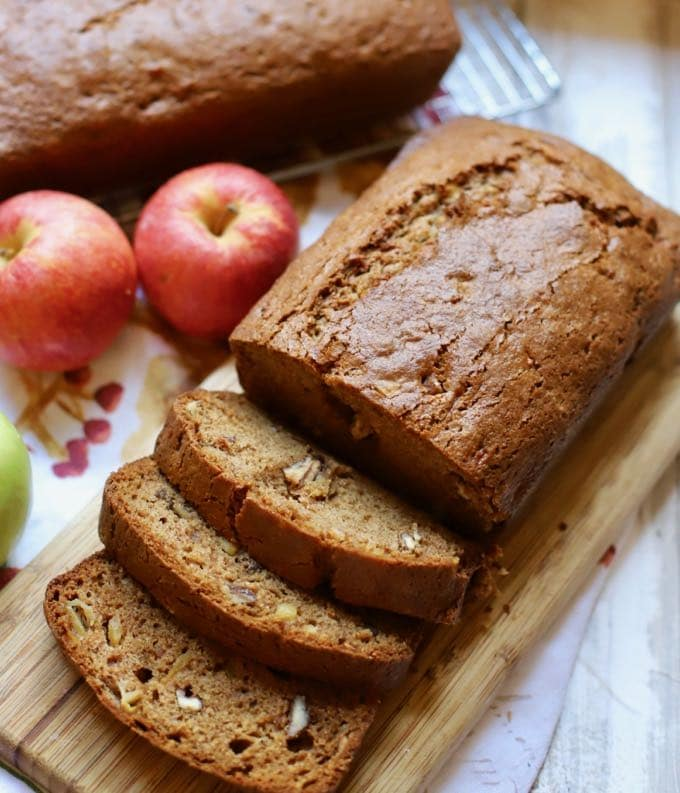 Delicious and moist slices of Easy Southern Style Apple Bread.