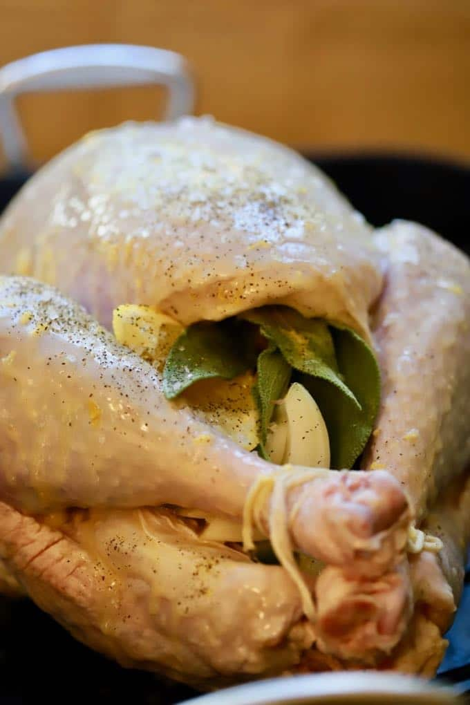 Simple and Perfect Roast Turkey which has been salted and buttered