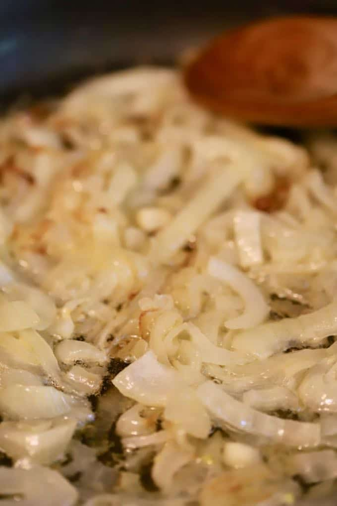 Cooking the onions for Southern Sweet Onion Casserole