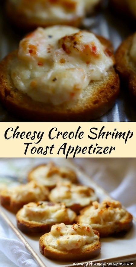 Cheesy Creole Shrimp Toast Recipe is a delicious, easy, mostly make-ahead appetizer that is perfect for your Christmas, New Year's Eve and Super Bowl parties.