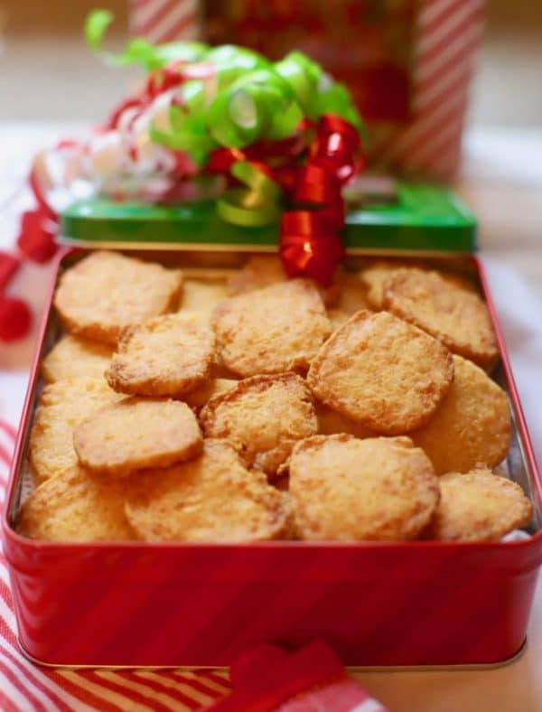 Crispy Cheesy Southern Cheese Crackers in a Christmas gift box