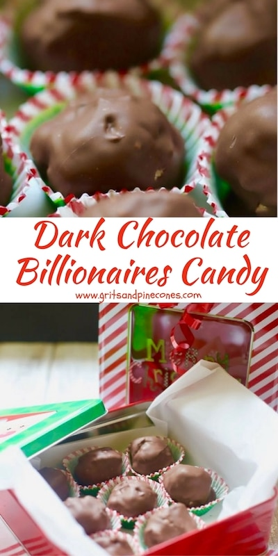 Dark Chocolate Billionaires Candy is delicious, and this easy confection makes a terrific edible homemade Christmas gift for those special people in your life. #christmastreats, #christmascandy, #christmasrecipes, #christmasediblegifts, #homemadechristmascandy