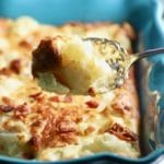 Serving a spoonful of Easy Cheesy Cauliflower Gratin