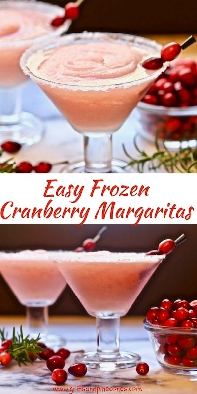 Easy Frozen Cranberry Margaritas are the perfect Christmas cocktail to kick off the holidays!  They are festive and delicious and they are easy to make.