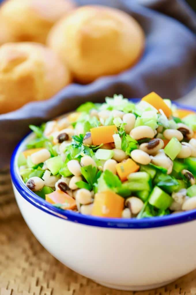 Healthy Black Eyed Pea Salad ready to eat with corn muffins