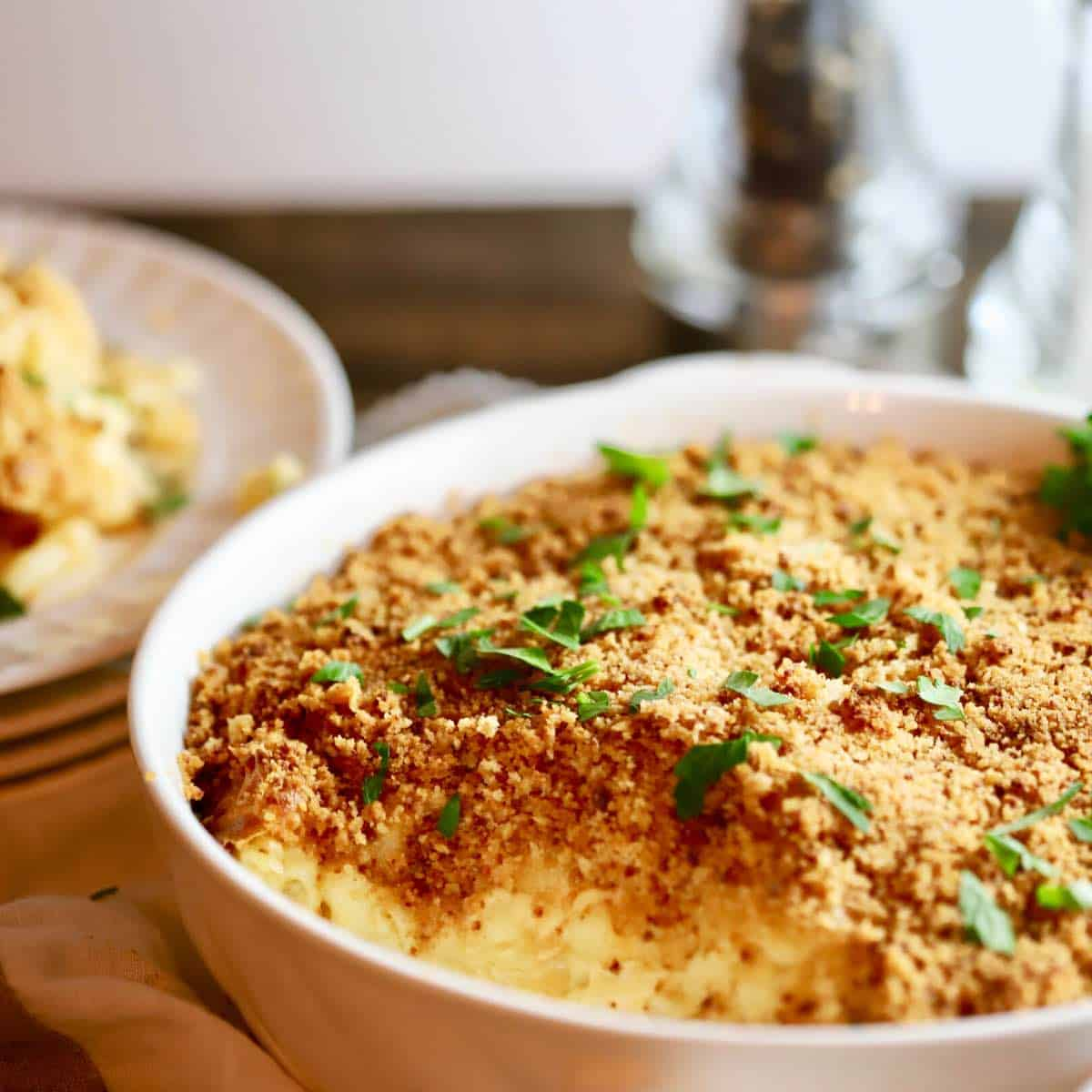 Southern Style Baked Mac and Cheese topped with Ritx cracker crumbs and parsley
