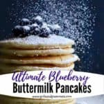 Pinterest pin, blueberry pancakes topped with confectioners' sugar.