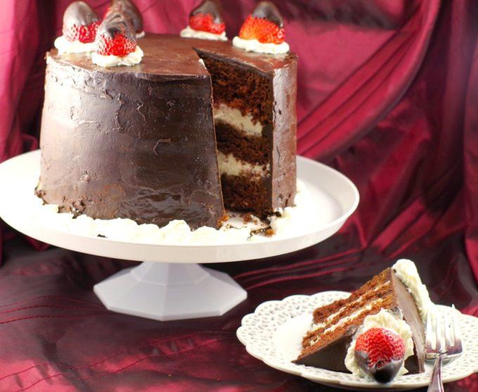 Red Wine Chocolate Fudge Strawberry Cake