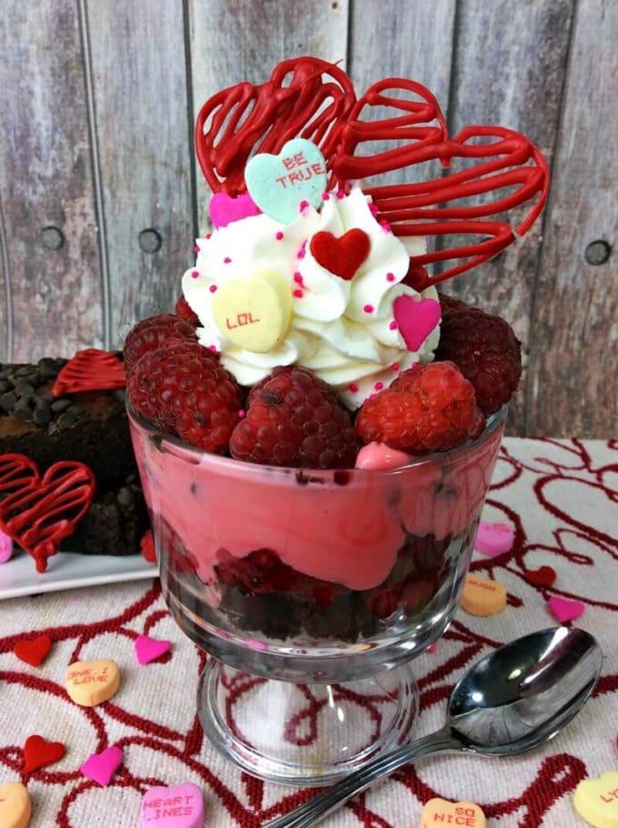 Valewntines Raspberry Brownie Parfait