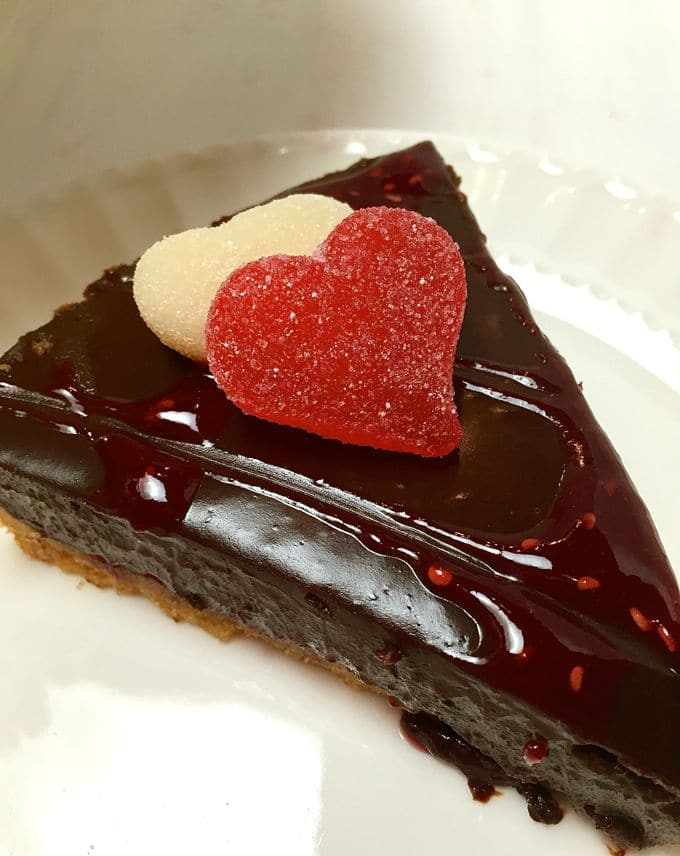 A slice of Chocolate Raspberry Tart