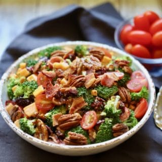 Easy Southern Broccoli Salad in a bowl and ready to serve