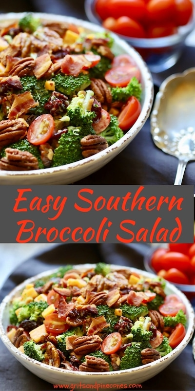Perfect for summer barbecues, easy and healthy Southern Broccoli Salad is jam-packed with fresh broccoli, dried cranberries, roasted pecans, cheddar cheese and cherry tomatoes. It's also really versatile, and you can tailor it to your family's tastes by adding or substituting red onion, pineapple or apple chunks, or another type of nut or sunflower seeds. #broccoli, #broccolisalad, #memorialday