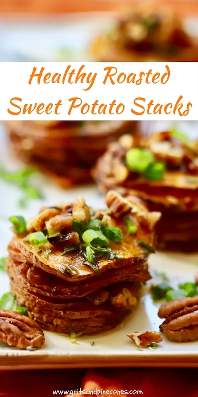 Easy, Healthy Roasted Sweet Potato Stacks are full of nutritious and delicious sweet potatoes, and flavored with scallions, rosemary, pecans and maple syrup!