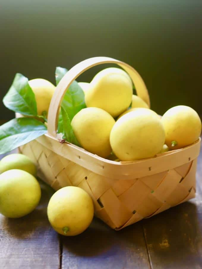 A basket of Meyer lemons just harvested for Luscious Southern Meyer Lemon Bars