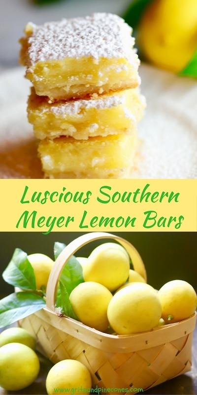 Luscious Southern Meyer Lemon Bars are fresh as sunshine and full of Vitamin C! This easy family-friendly lemon bar dessert recipe is made with Meyer lemons!