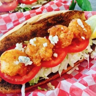 Spicy Buffalo Shrimp Po' Boy Sandwich