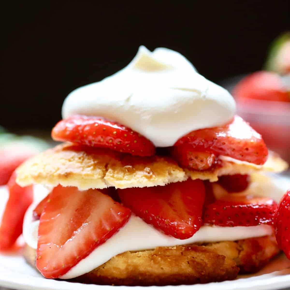 Classic Southern Strawberry Shortcake with fresh strawberries and whipped cream
